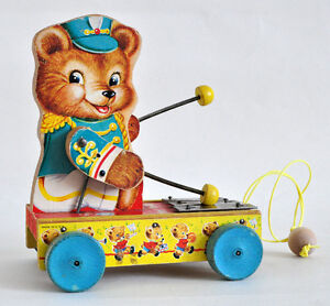 FISHER PRICE TINY TEDDY XYLO #635 VINTAGE 1962 PULLTOY EXCELLENT