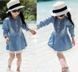 Girl-Kids-2-8Y-Denim-Blue-Beautiful-Lace-Cowboy-Clothes-Long-Sleeve-Dress-et296
