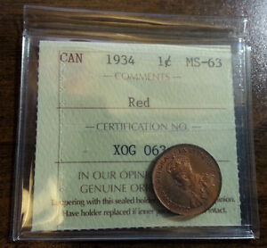 1934 Canada Penny graded ICCS MS-63 Genuine