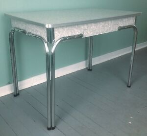 Vintage 1950's Formica Cracked Ice Kitchen Table, Excellent Cond