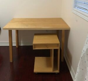 IKEA table/desk with a 4-wheel-drawer