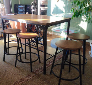 Pub Style Dining Table with Wine Rack Base.