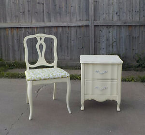 FRENCH PROVINCIAL CHAIR -REFINISHED IN IVORY & LIME GREEN FABRIC