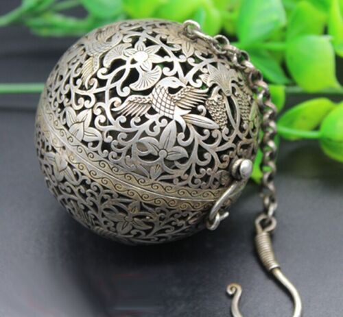 Tibet Silver Copper Carved Incense Burner Ball Statue