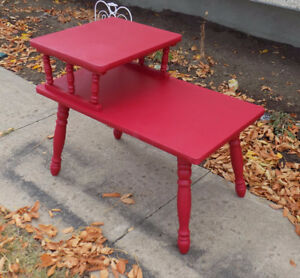 Vintage end table painted in a vibrant red
