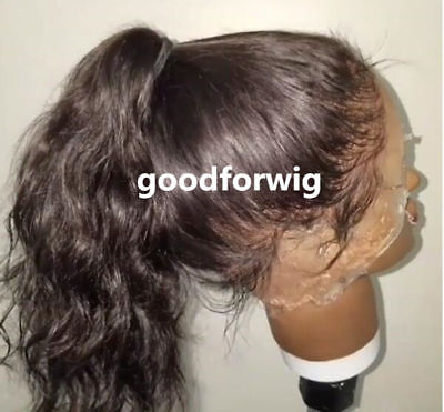 Pre Plucked Black Human Hair body wave Lace Front Wig Full Wigs natural color  ()