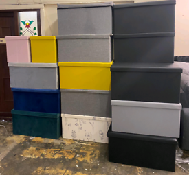 Ottoman storage boxes with Lids only £10. £15. £20. EMCO FURNITURE Le.