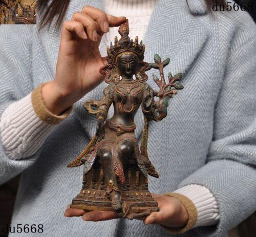 Tibetan Buddhism Bronze Painted Nepal green Tara Kwan-yin Guanyin Buddha statue