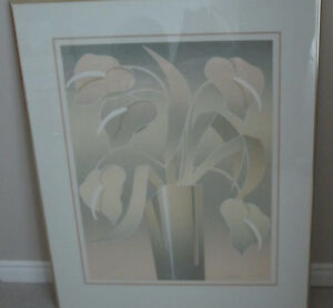 Framed silk screen print of anthuriums London Ontario image 1