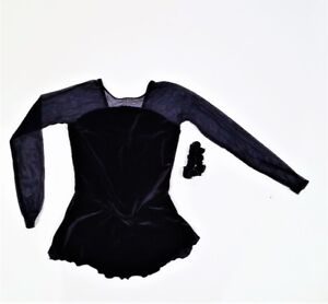 NEW - LADIES DARK BLUE VELVET FIGURE SKATING DRESS