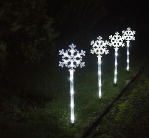 4 Outdoor Snowflake Pathway Lights Christmas Decoration