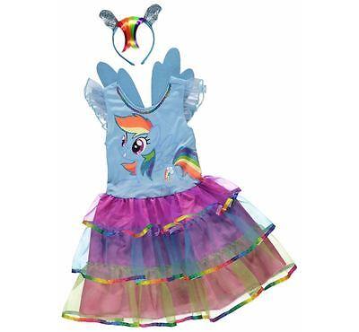 George Mein Kleines Pony Regenbogen Streifen Mädchen Kostüm Kleid - Meine Mädchen Kostüm