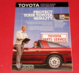 1987 TOYOTA QUALITY PARTS & SERVICE AD WITH SUPRA - VINTAGE 80S