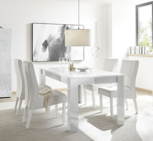 Contemporary white glass dining table (dutch design)