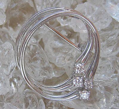Lovely✨ 0,15 Ct Diamant Brosche in aus 14kt 585 Gold mit Brillant Brooch Diamond