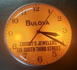 1950's BULOVA LIGHTED WALL CLOCK  Advertising CROSBY'S JEWELERS SOUTH 3rd St