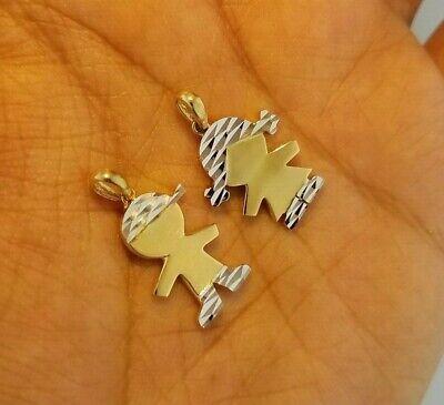 Girl Boy Plain Pendant New Born Charm Gift 14K Yellow White Gold Diamond Cut  Diamond Cut Boy Pendant
