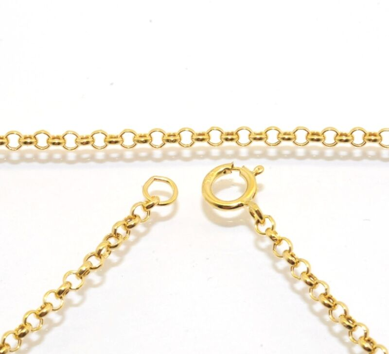 2mm Cable Round Rolo Chain Necklace Extender Real Solid 14K Yellow Gold Genuine