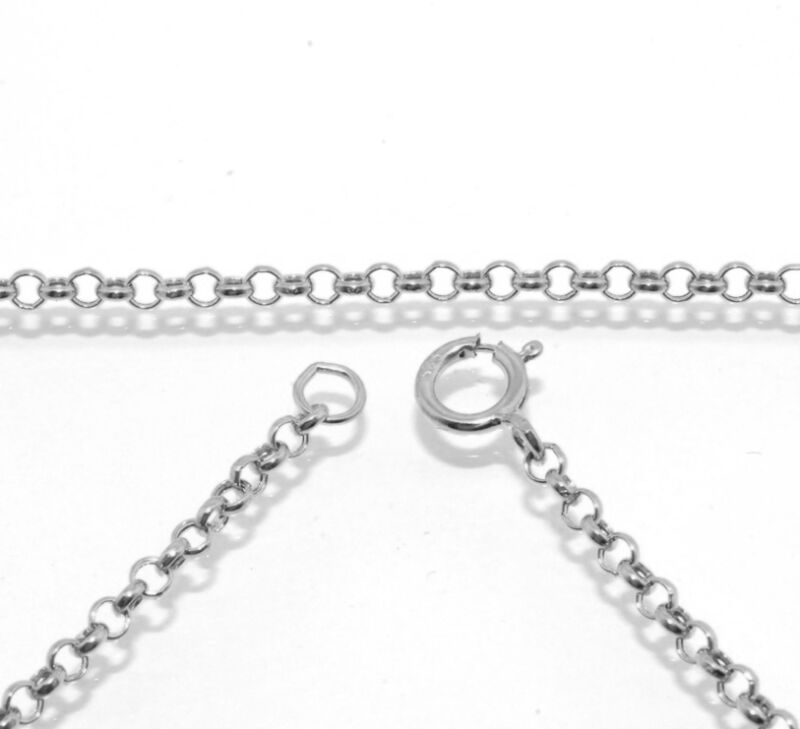 2mm Cable Round Rolo Chain Necklace Extender Real Solid 14K White Gold Genuine