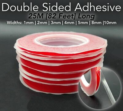 25M RED Film DOUBLE SIDED STICKY ADHESIVE TAPE 1mm 2mm 3mm 4mm 5mm 6mm 8mm -