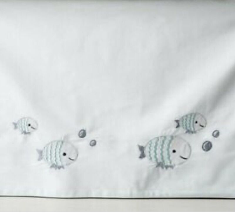 Crate & Barrel Kids Under the Sea Blue Crib Skirt Baby Infant Nursery Fish