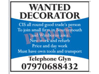 Painter and Decorator Wanted Job