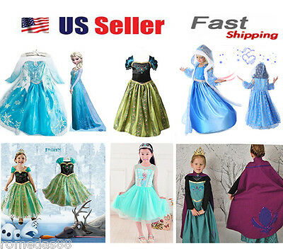 Gorgeous Frozen Queen Elsa & Princess Anna Costume Cosplay Party Dress Up (Elsa & Anna Costumes)