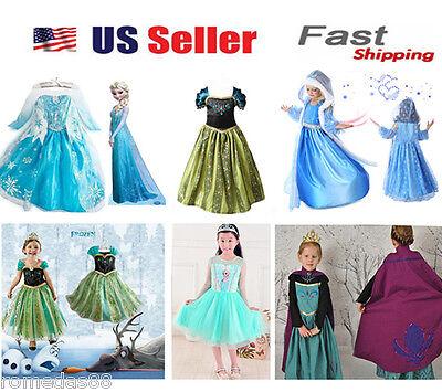 Gorgeous Frozen Queen Elsa & Princess Anna Costume Cosplay Party Dress Up