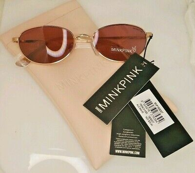 NWT! MINKPINK French Kiss Sunglasses Metal Wire Frame Pink Lenses - FREE (Mink Pink Sunglasses)