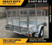 "8x5 Galvanised Trailer Heavy Duty with RAMP 900mm cage TIPPER 14"" Noble Park North Greater Dandenong Preview"