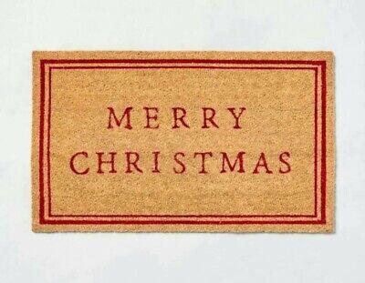 Hearth & Hand Magnolia Merry Christmas Seasonal Doormat Red & Natural Coir NWT