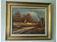 Original antique oil painting on canvas signed by Kaloff in wooden gilt frame