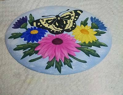 "BUTTERFLY w/ DAISIES INSERT CERAMIC BISQUE  READY TO PAINT ""Ship Free"""