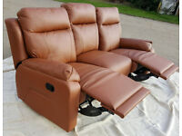 Brand New Ricardo 3 Seater Leather Recliner Sofa - Tan