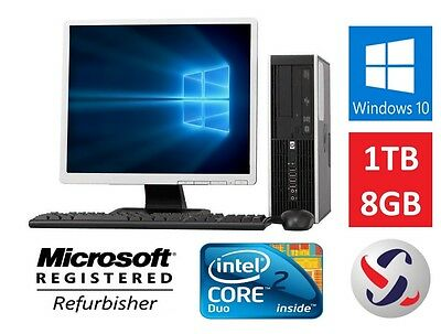 Hp Windows 10 Desktop Pc Computer Fast Intel Core 2 Duo 8Gb 1Tb Lcd Wifi
