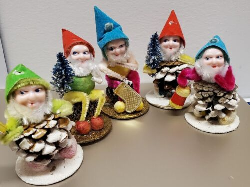Set of 5 vintage Christmas Japanese Elf/Gnome pinecone decorations