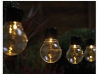 Set of 10 Bulb Lights on a String, Solar Powered, Brand New, Flickering or Static Function