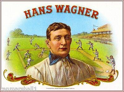 Hans Wagner Baseball Vintage Smoke Cigar Box Crate Inner Label Art Print  ()