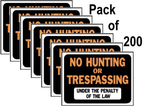 "(200) HY-KO 3011 9"" X 12"" Plastic No Hunting Or Trespassing Signs"