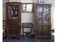 Pair of Genuine Old Charm part glazed corner display cabinets