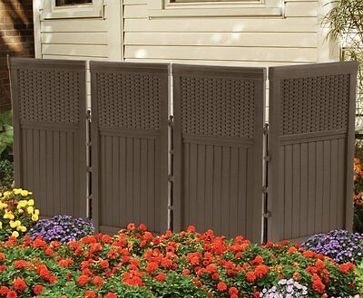 New Suncast FSW4423 Outdoor Garden/Yard 4 Panel Screen Enclosure Gate/Fence Java