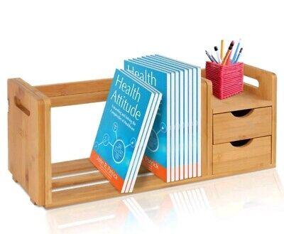 Natural Bamboo Bookshelf Desktop Shelf Organizer Already Assembled