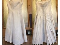 VINTAGE 50s PROM DRESS, BONED BODICE, PLEATED SKIRT - M