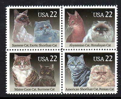USA SCOTT 2375A 2372-2375 MNH BLOCK OF 4 - CATS 1988