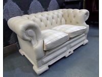 Stunning Chesterfield Dellbrook 2 Seater Sofa in Cream Leather with Tartan Cushions - UK Delivery