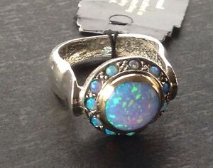 nwt paz creations sterling silver 14k gold opal ring sz 7