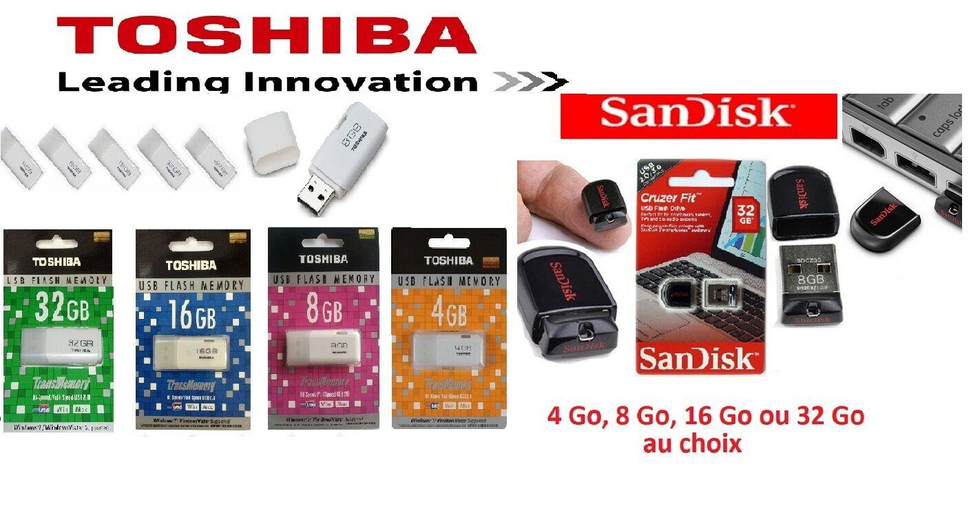 originale cle usb toshiba ou sandisk 4 8 16 32 go gb livrees sous 24 48h ebay. Black Bedroom Furniture Sets. Home Design Ideas