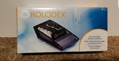 Rolodex Two Tone Mesh Business Card Tray And Ruled Cards Organizer Office New
