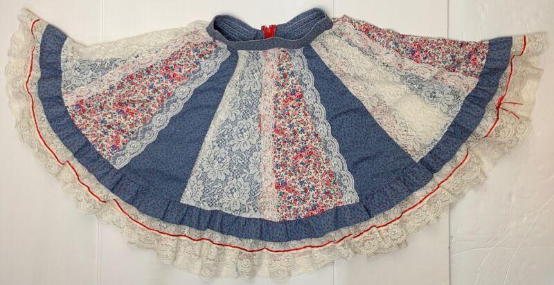 SQUARE UP FASHIONS Square Dance Skirt Size P Paneled Lace Floral Vintage