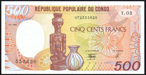 1990 Congo Republic 500 Francs Banknote * 553620 * aUNC * P-8c *